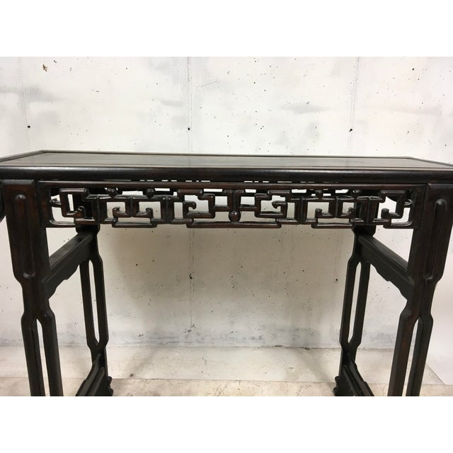Early 20th c asian teak console table chairish for Table th width ignored