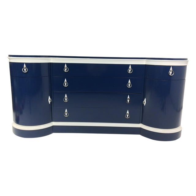 Mid-Century Navy & White Lacquered Credenza - Image 1 of 4