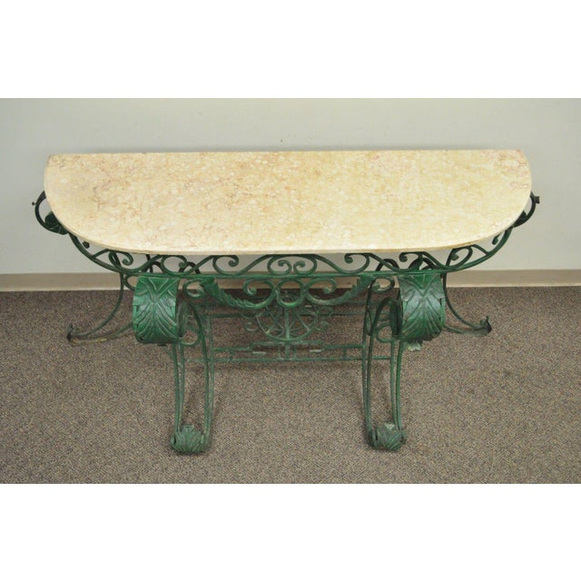Italian Regency Style Green Wrought Iron Marble Top Console Table - Image 4 of 11