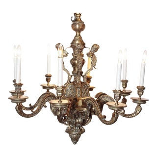 19th Century French 8-Light Bronze Chandelier