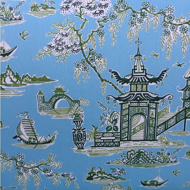Chinoisierie Pagoda Toile Wingback Sofa Loveseat - Image 7 of 11