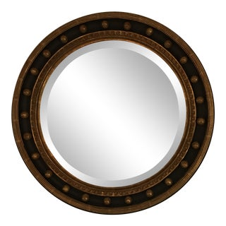 Gold Leaf and Umber Round Mirror