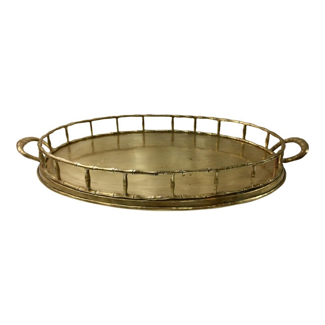 Brass Bamboo Style Chinoiserie Tray - Image 1 of 7