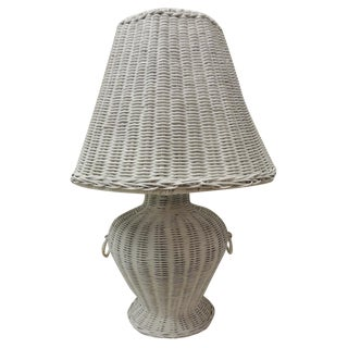 Victorian Tall Painted Wicker Lamp