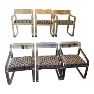 Charles Hollis Jones Lucite Dining Chairs - Set of 6
