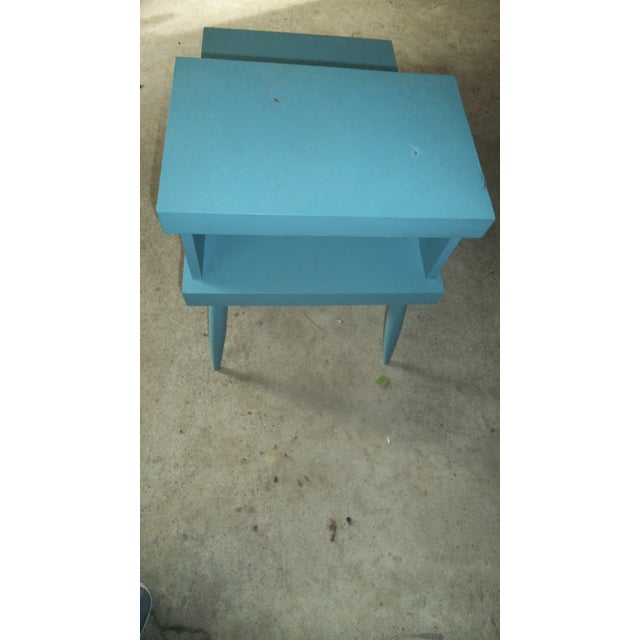 Image of Mid-Century Teal Shabby Chic End Table