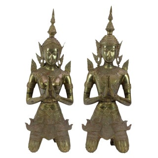Pair Of Brass Thai Teppanom Angels