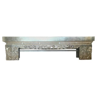 19th Century Chinese Carved Silver Leaf Opium Bench