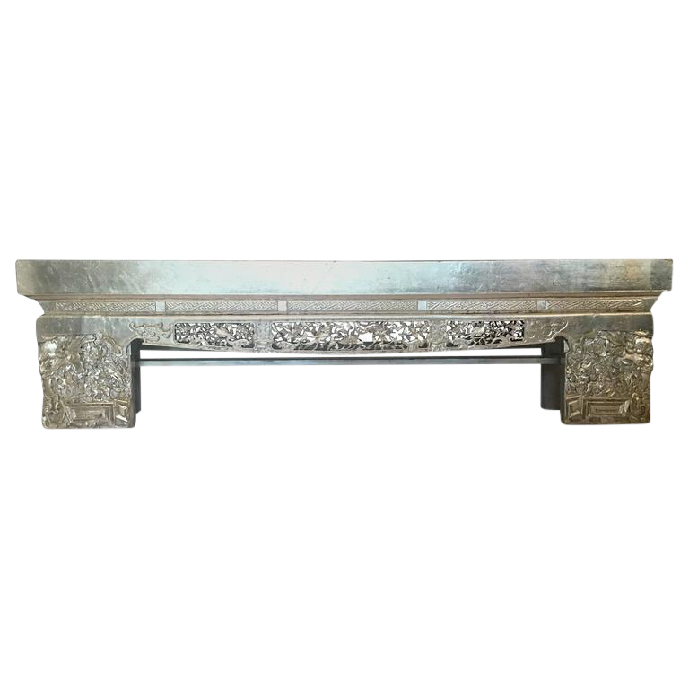 19th Century Chinese Carved Silver Leaf Opium Bench   Image 1 Of 10