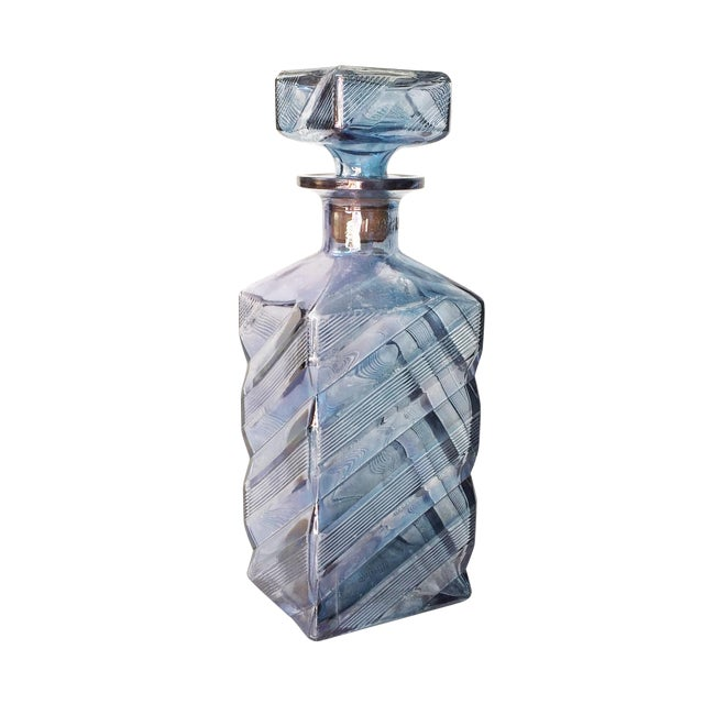 Vintage Geometric Blue Glass Decanter - Image 1 of 6