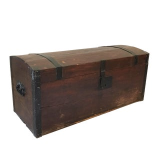 Antique Rustic Wood Trunk