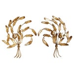 Image of Vintage 1950s Gold Italian Candle Sconces - A Pair