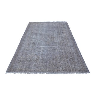 Hand-Knotted Turkish Gray Overdyed Carpet - 5′7″ × 8′9″