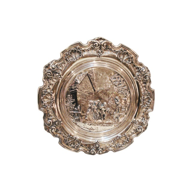 Large French Silver Wall Plate - Villager Feast - Image 1 of 8