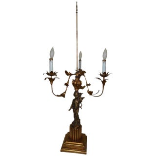 French Cherub Bronze Candelabra Lamp