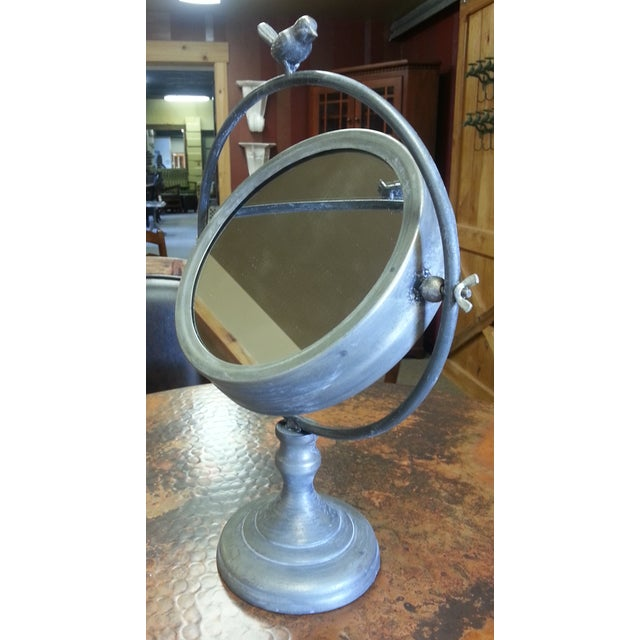 Tilting Metal Mirror on Stand With Bird Finial - Image 7 of 7