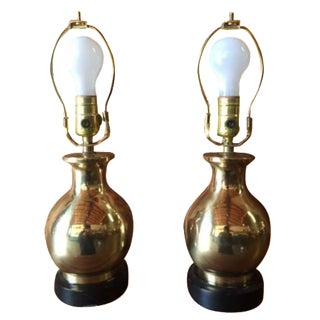 Solid Brass Vintage Lamps - A Pair