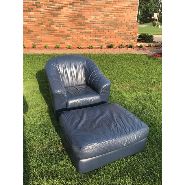 Mid-Century Modern Blue Leather Barrel Chair & Ottoman - Image 2 of 7