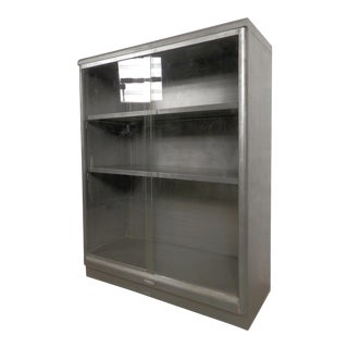 Industrial Metal Mid-Century Cabinet w/ Sliding Glass