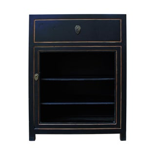 Black Lacquer Asian Contemporary Side Table Cabinet