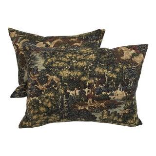 English Fox Hunt Linen Pillows - Pair