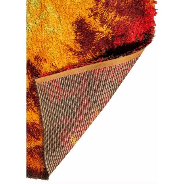 Scandinavian Fire Pattern Shag Rya Rug/Ege Rya - Image 4 of 4