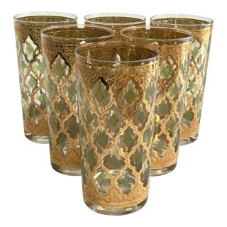 Culver Valencia Gold & Green High Ball Glasses - Set of 6