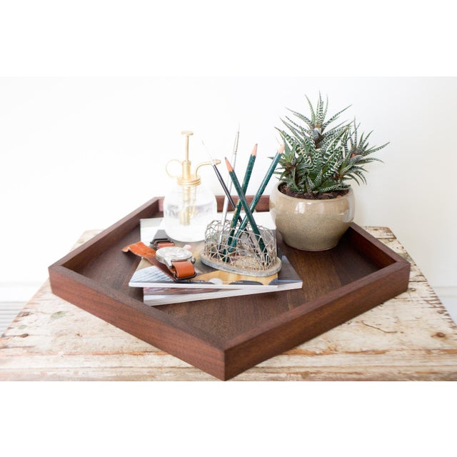 Handmade Walnut Wooden Geometric Pentagon Tray - Image 6 of 6
