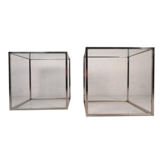 Mid-Century Modern Cube Chrome End Tables in the Style of Milo Baughman - a Pair