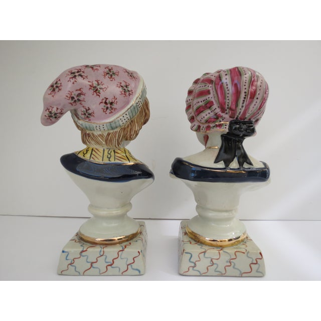 Image of Staffordshire Boy & Girl Busts - A Pair