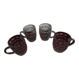 Beer Mugs Thumbprint Glasses - Set of 4