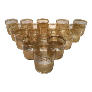 Mid-Century Culver Gold Rocks Glasses - Set of 15