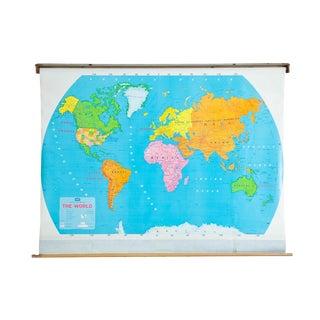 Vintage Modern School World Pull Down Map