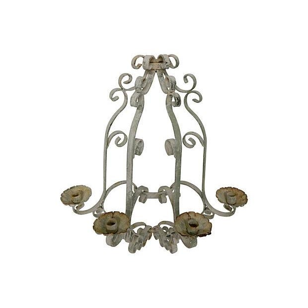 Shabby Chic Wrought Iron Sconces - A Pair - Image 4 of 5