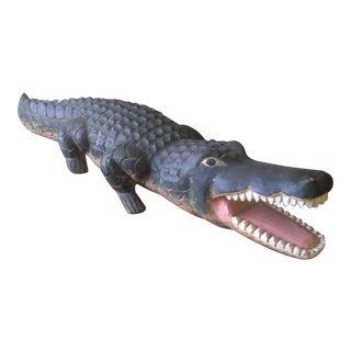 Vintage Carved Wood Folk Art Alligator