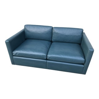 Contemporary Blue Leather Couch