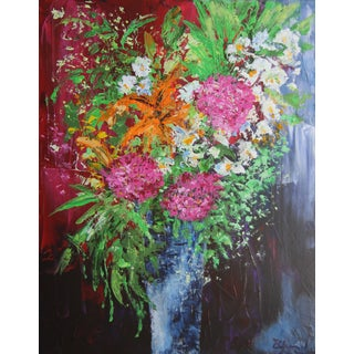 Blue Vase-Floral Painting by Celeste Plowden