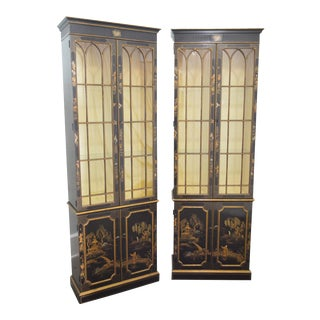 Baker Chinoiserie Painted Pair of Tall Curio Cabinets