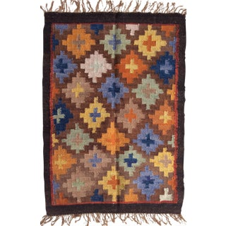 Perúvian Hand Woven Rug - 1′12″ × 2′9″