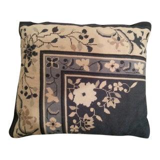 Navy & White Floral Needlepoint Pillow