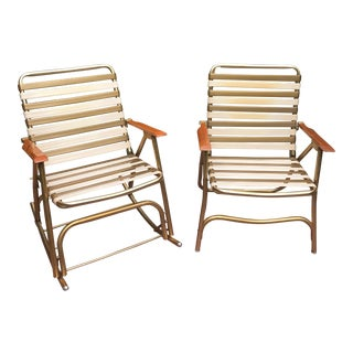 Mid-Century Lawn Chairs With Maple Arms - A Pair