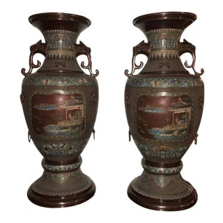 1930s Chinoiserie Lion Handled Vases / Urns - a Pair