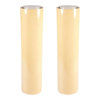 American Tall Cylindrical Pedestal Display Lights - a Pair