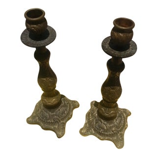 Solid Brass Candelsticks- A Pair