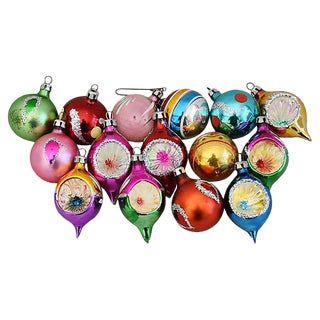 Mid-Century Fancy & Colorful Christmas Ornaments w/Box - Set of 15