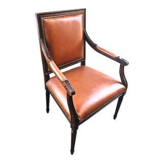 Vintage Leather & Wood Library Chair