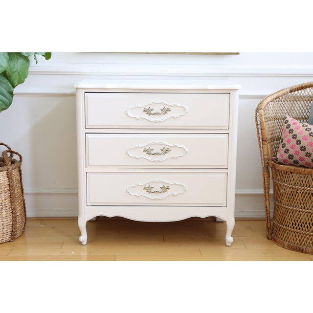 Shabby Chic Vintage White Nightstand - Image 2 of 6
