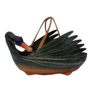 Vintage Asian Swan Decor Basket