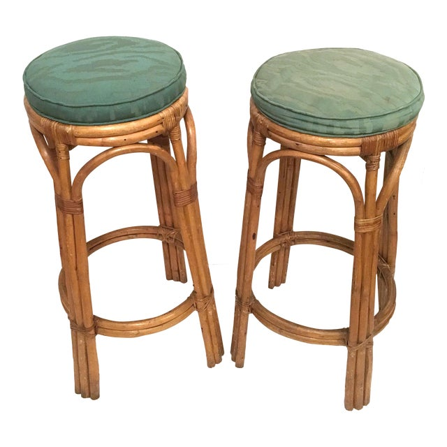 Vintage Rattan Stools or Plant Stands - a Pair - Image 1 of 7