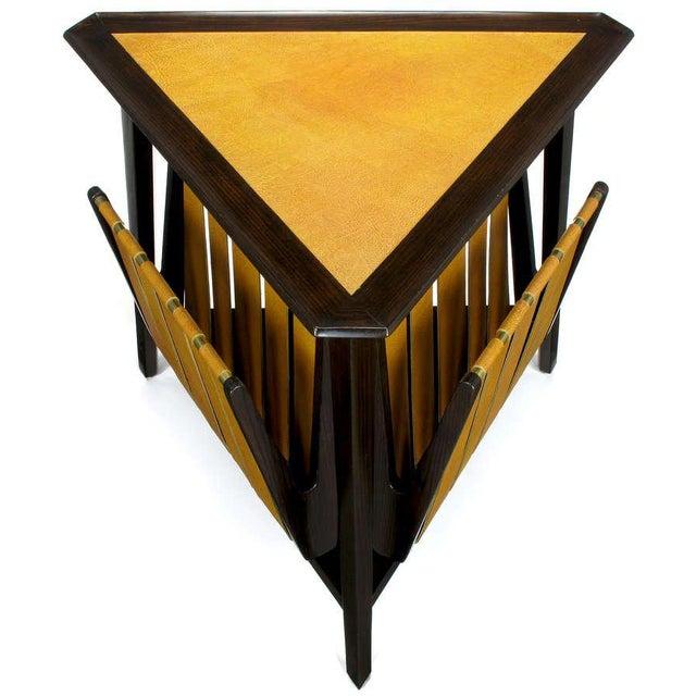 Rare Edward Wormley Dark Ash & Leather Magazine Table - Image 2 of 10